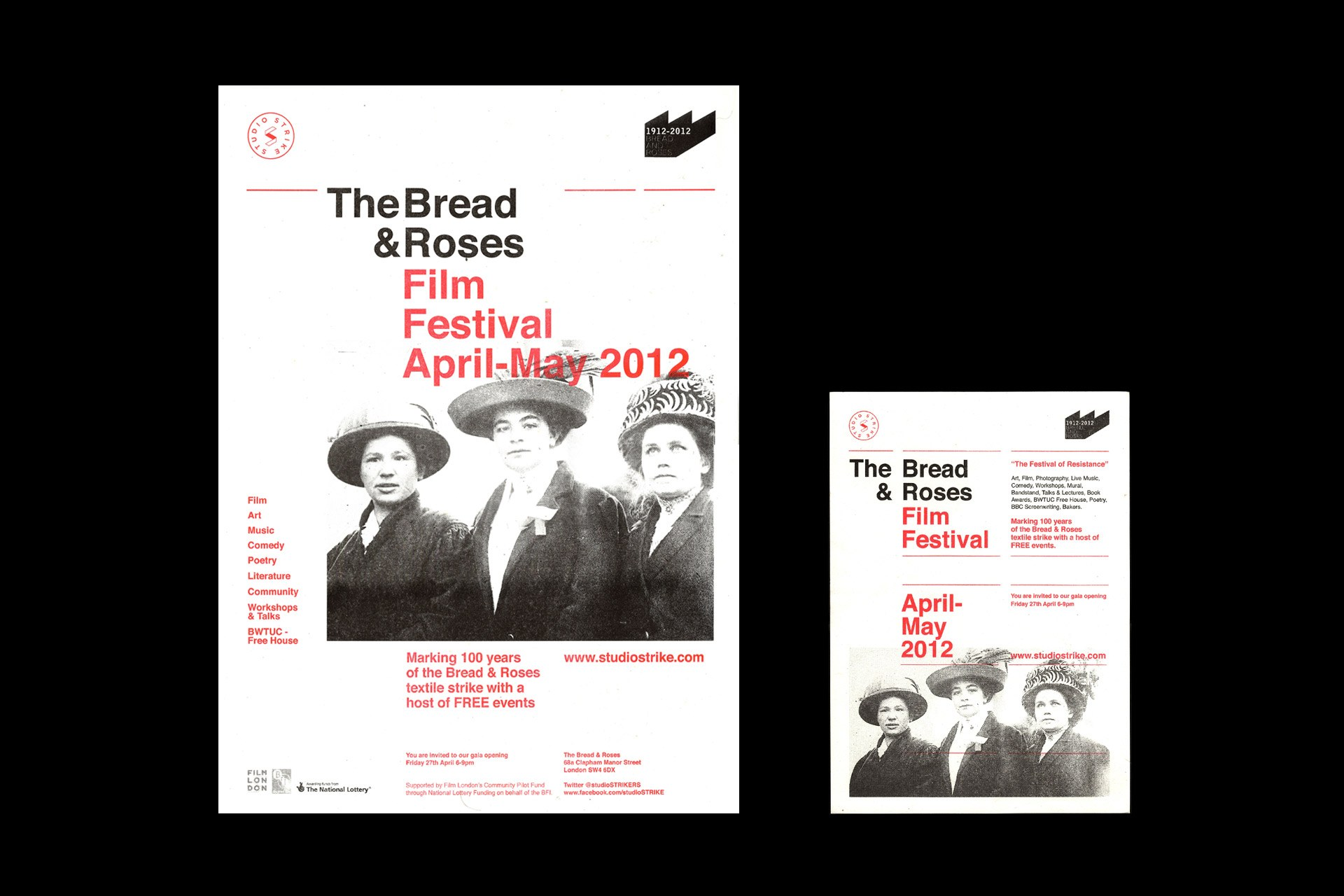 Risograph black & red poster for the Bread & Roses Film Festival