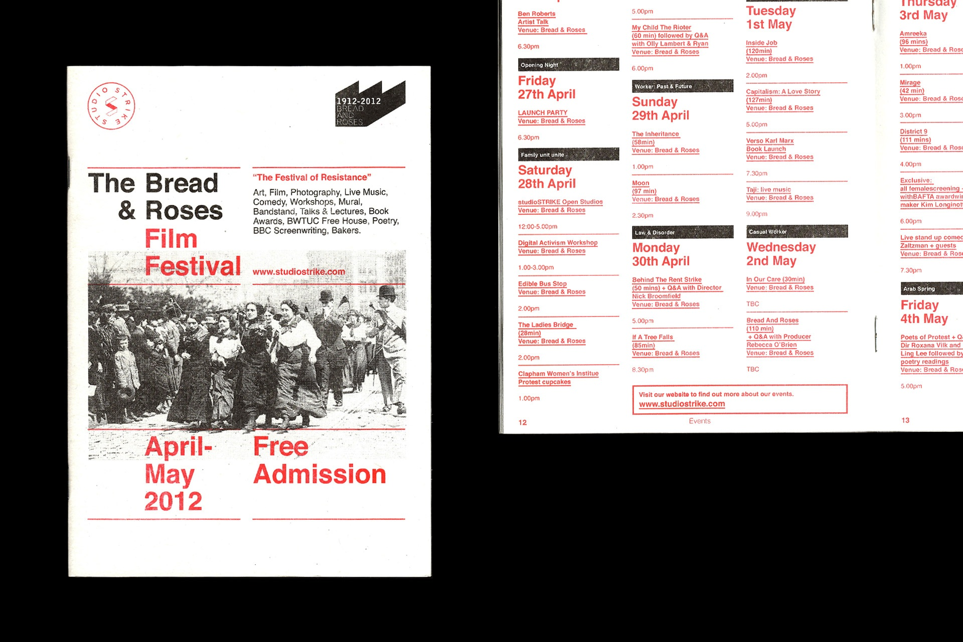 Risograph black and red programme for The Bread & Roses Film Festival