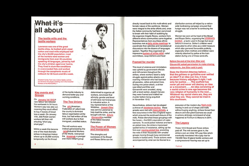 An inside spread from the Bread & Roses Film Festival programme
