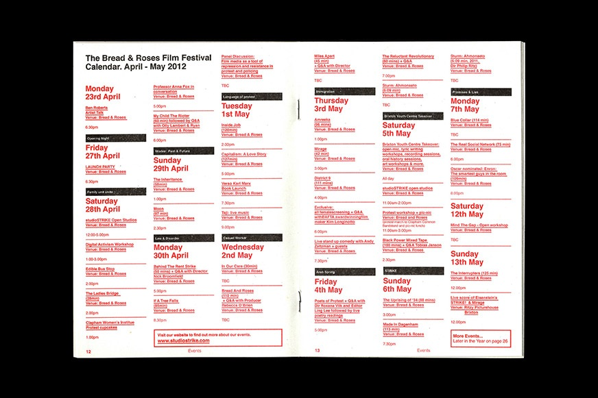 The listings spread from the Bread & Roses Film Festival programme