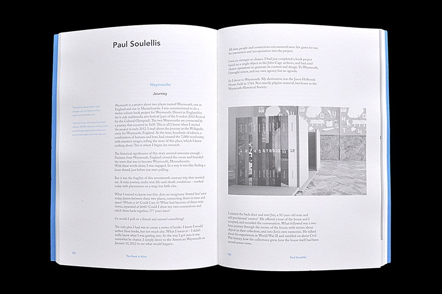 A spread of contributor Paul Soulellis from The Book is Alive