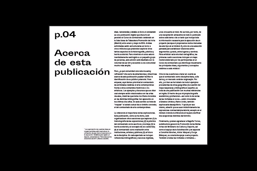 Text layout from the digital publication designed for a curatorial practice course in Madrid, Spain.