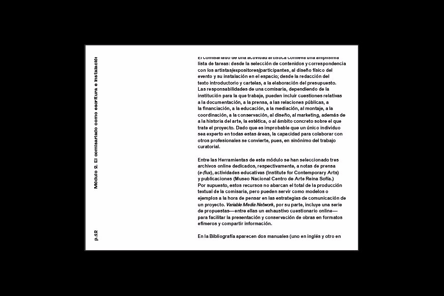Layout for the digital publication published to accompany the curatorial practice course directed by curator Emma Brasó at La Tabacalera, Madrid.