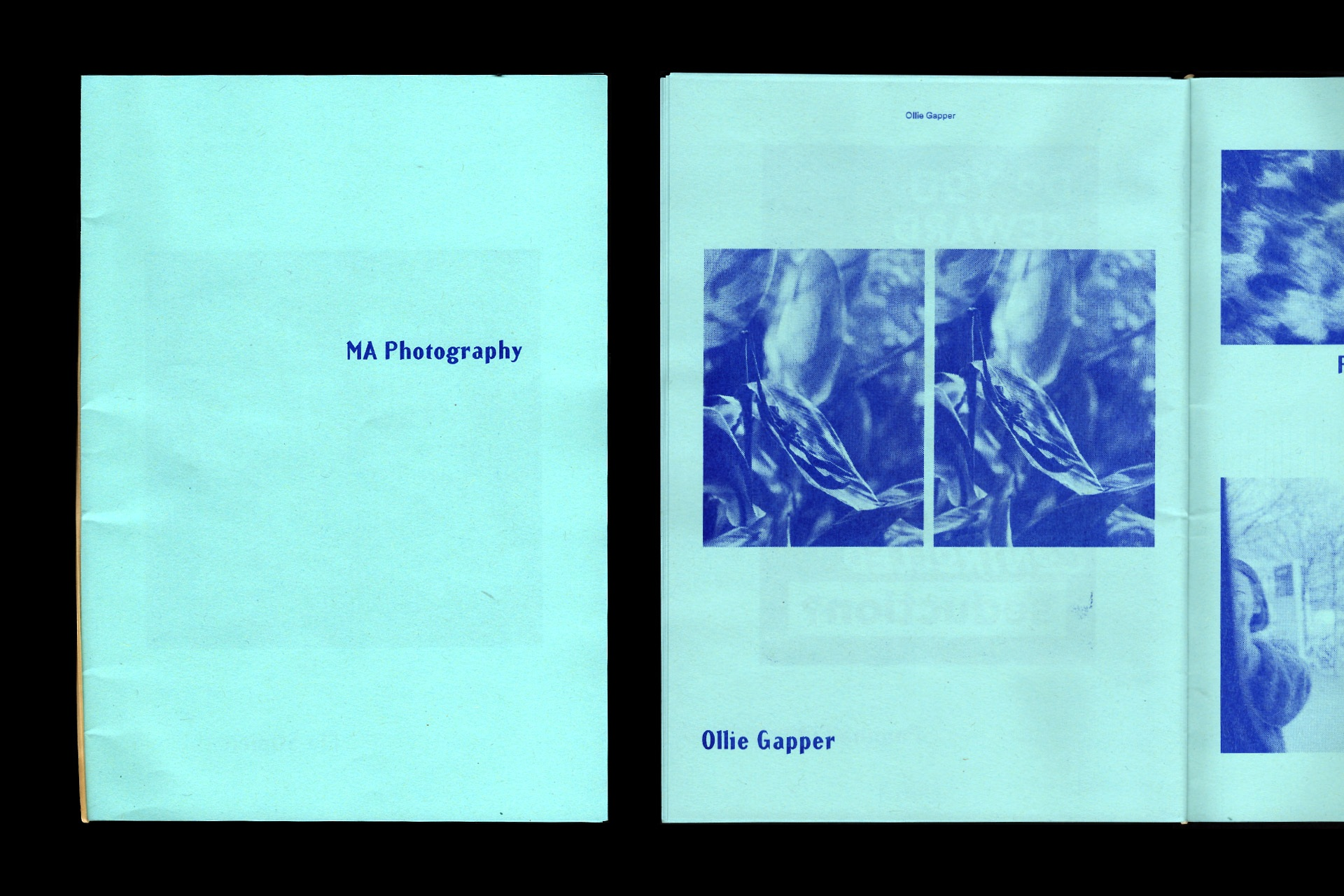 Risograph blue ink on blue paper. Exhibition catalogue for UCA Canterbury.