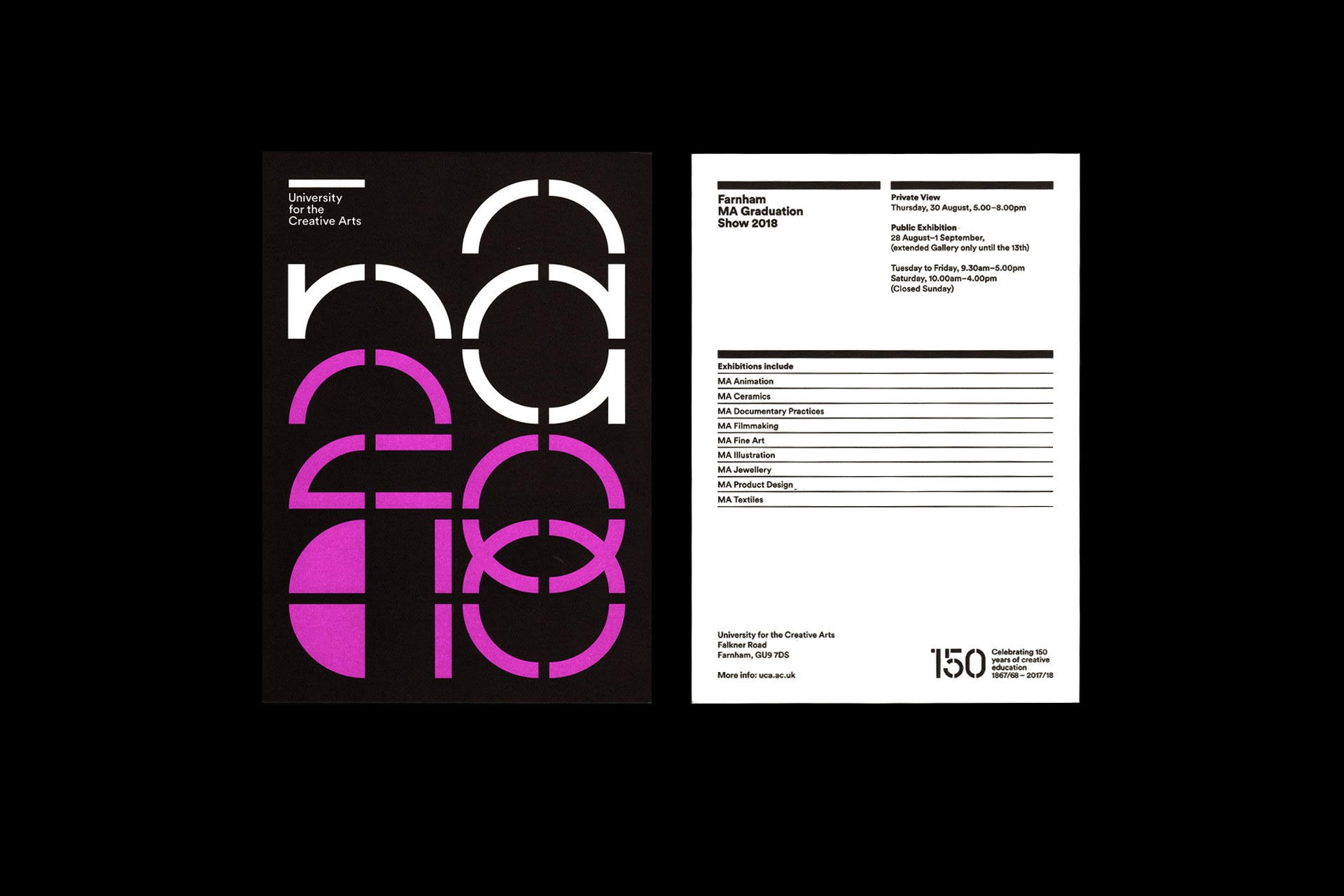 UCA Exhibition invite with bespoke typography printed in Pantone 805.