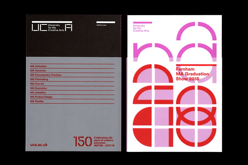 Cover design of the MA Show catalogue at UCA Farnham showing dust jacket and bespoke typographic elements.