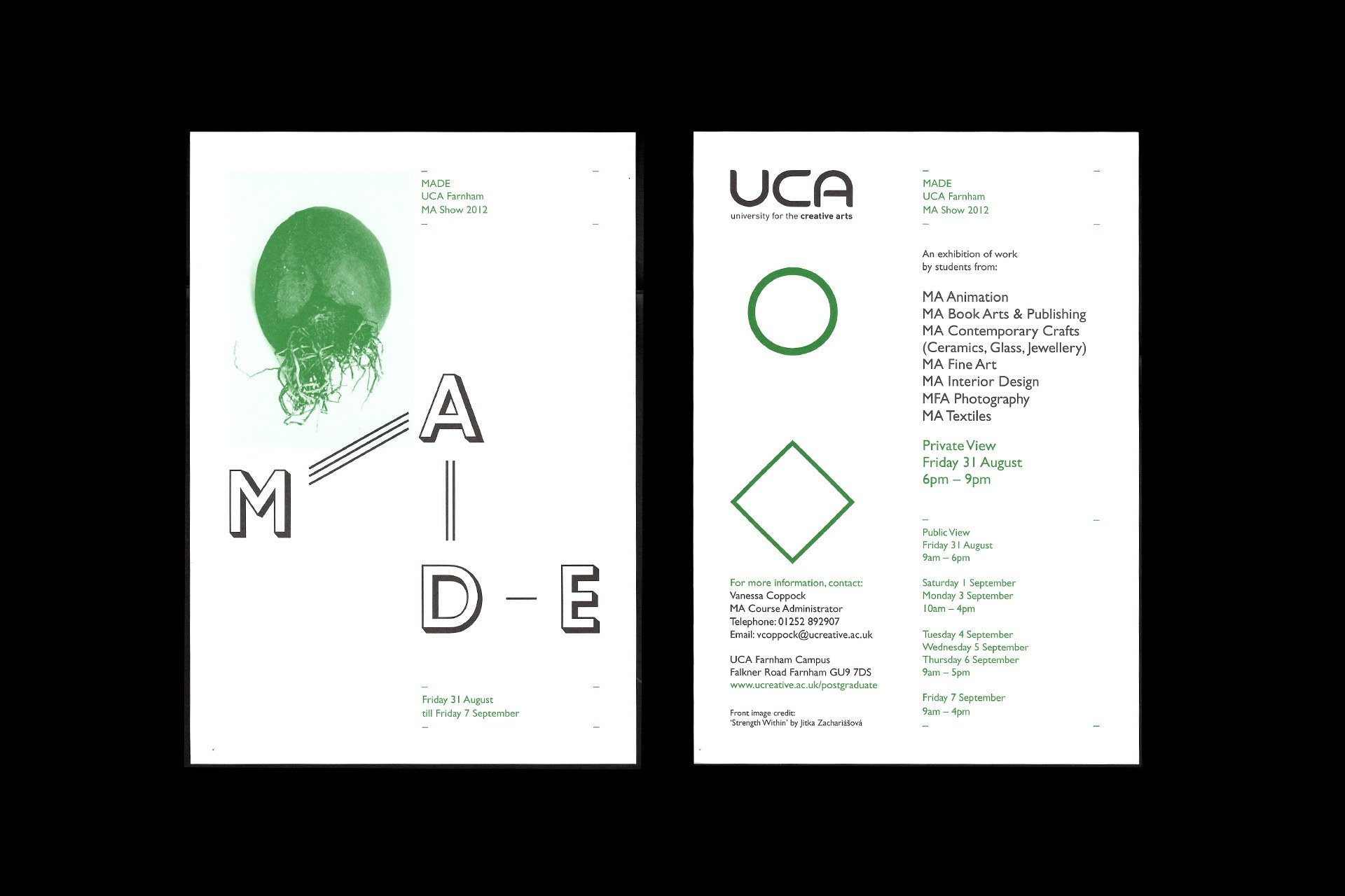 The front & reverse of the invite for the UCA MA Show 2012