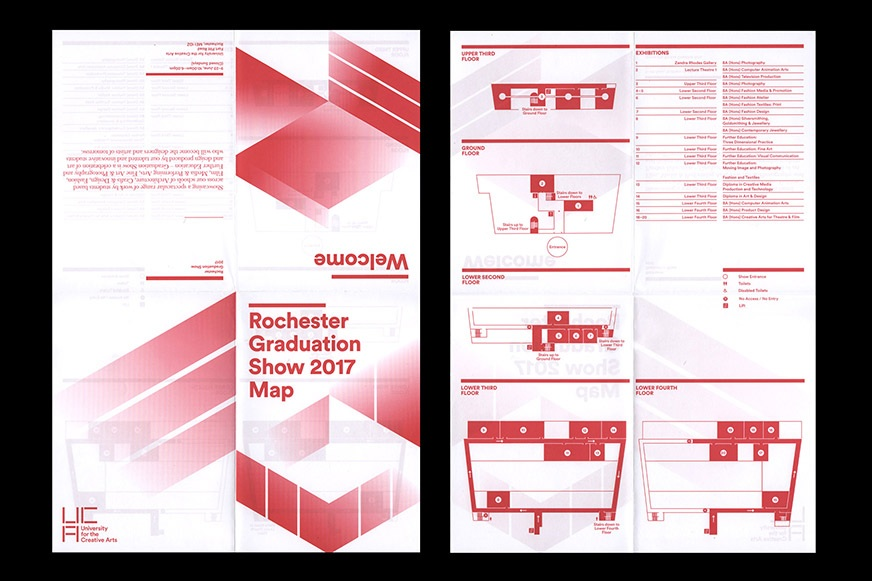 Front and reverse of fold out campus map for UCA degree show.