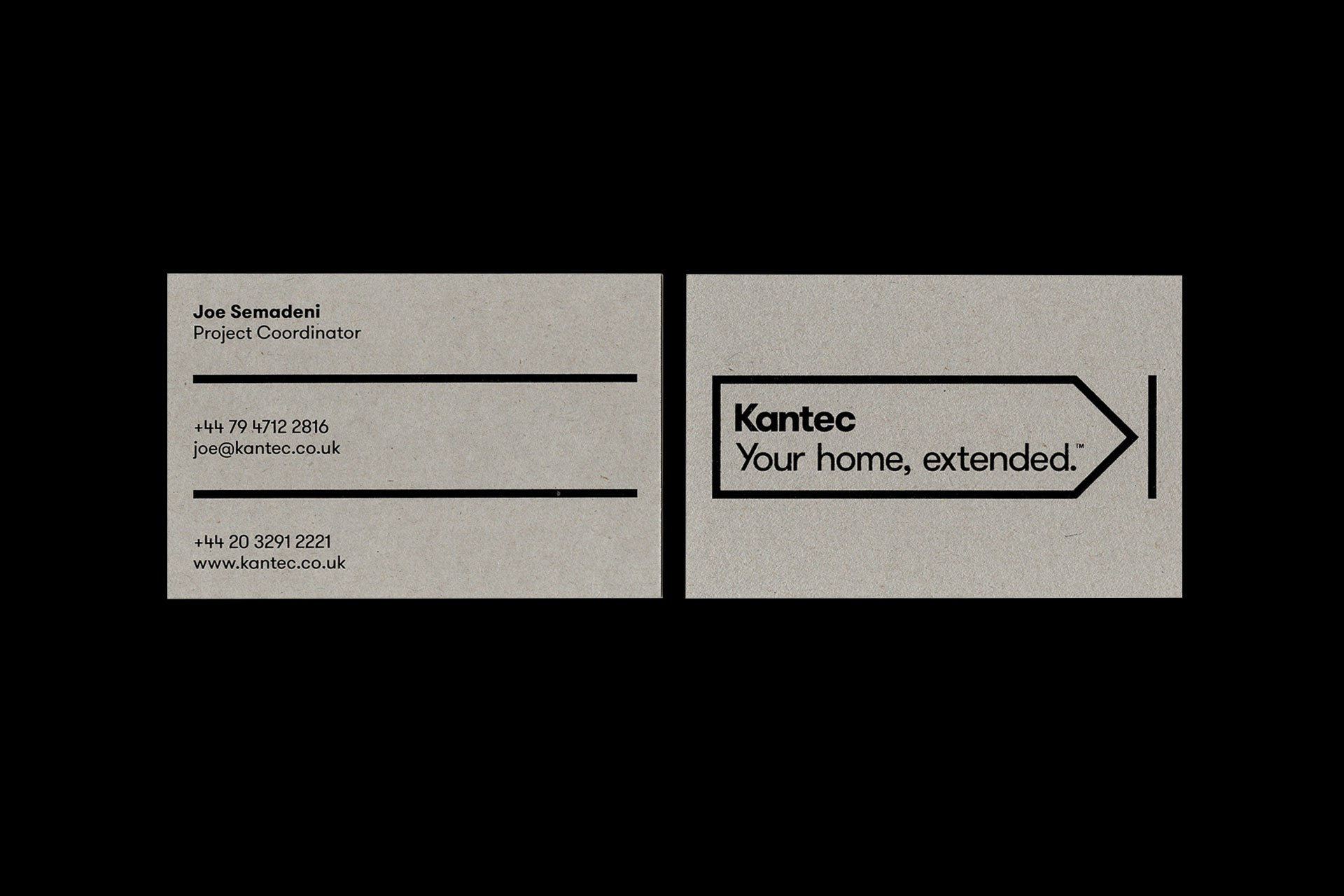 Kantec business cards printed on Nomad Grey Smooth paper stock.