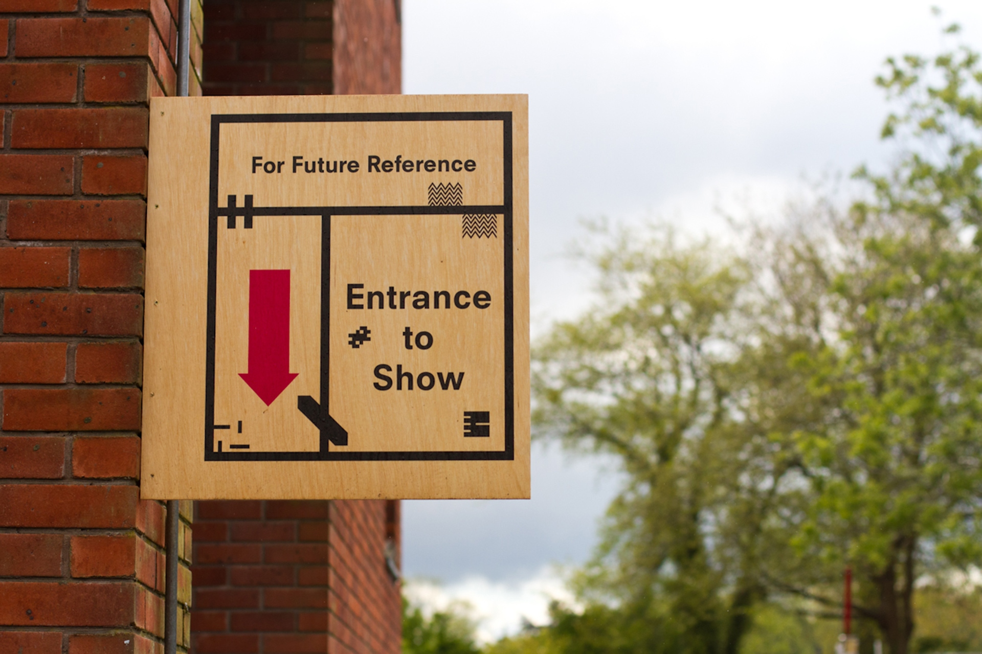 Direct print on birch plywood entrance sign for the UCA BA Show 2013