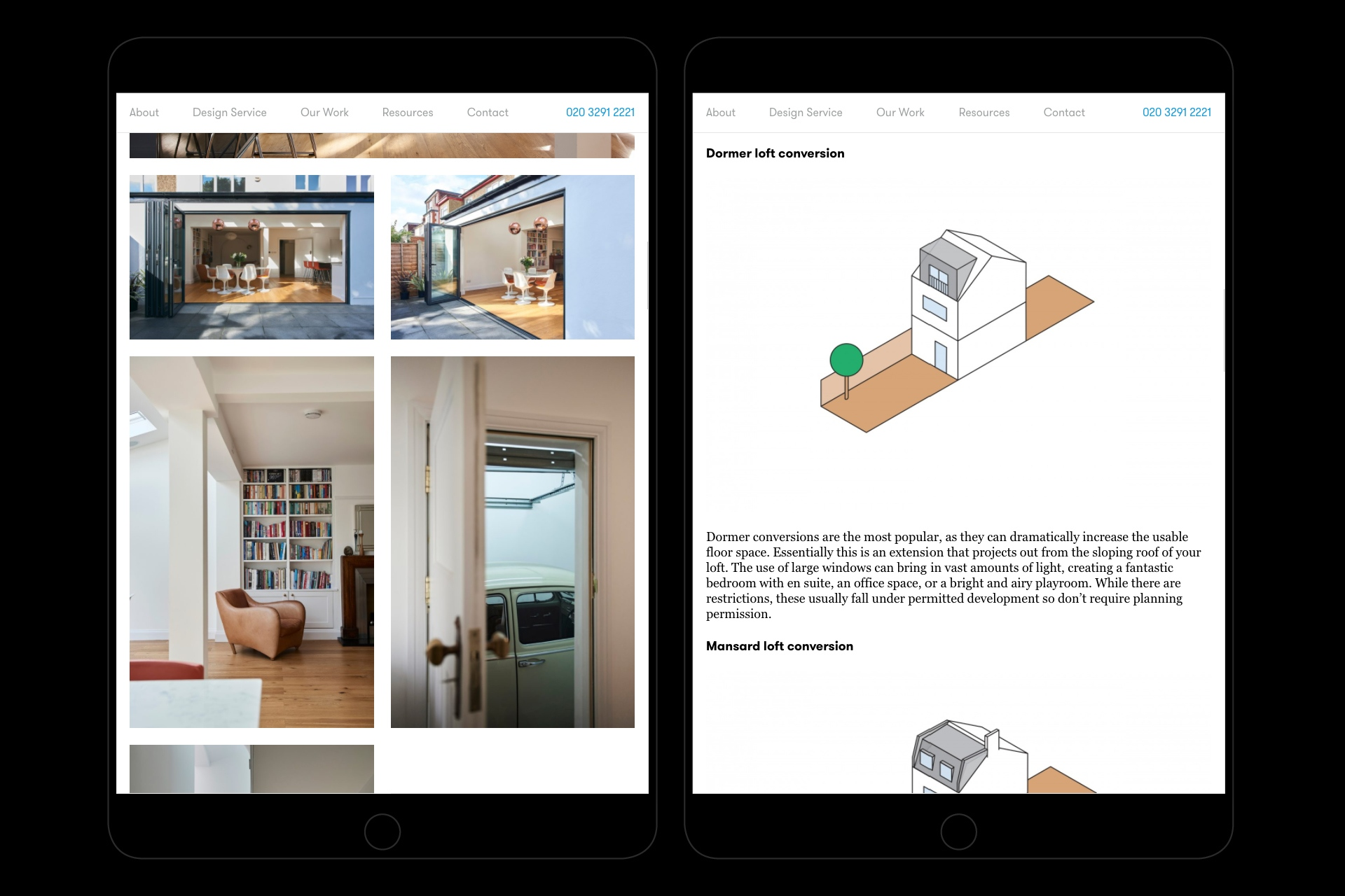 Website versions for tablet showing illustrations of different types of loft conversions.