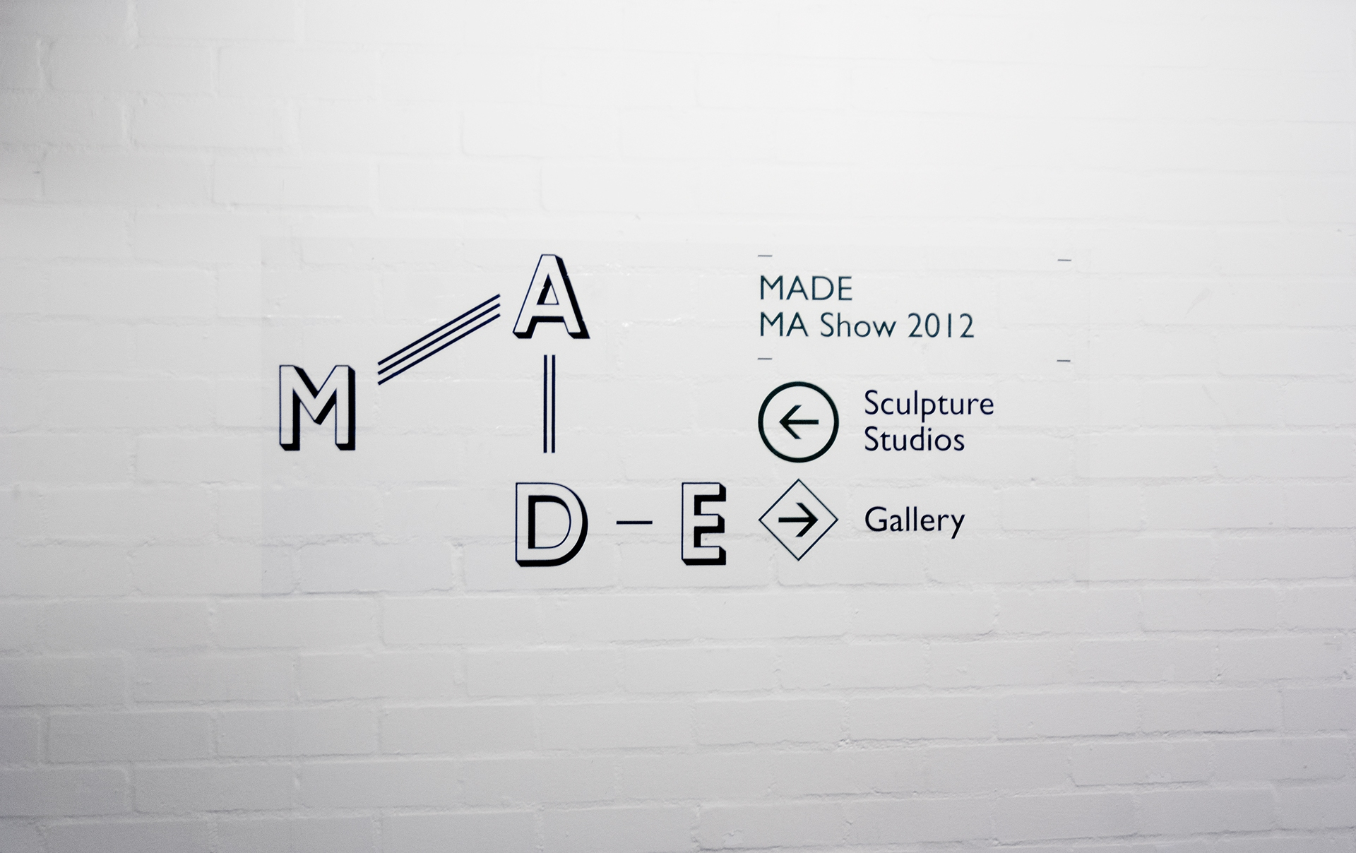 Wall lettering & exhibiiton signage for the UCA MA Show 2012