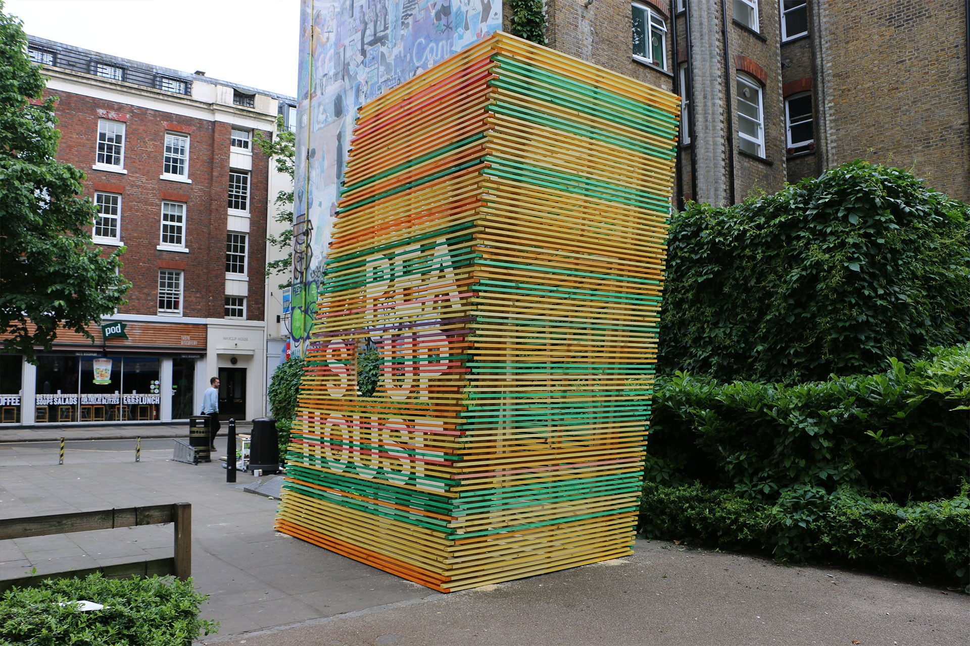 The pea soup house installation at Whitfield Gardens in Fitzrovia