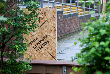 Temporary way-finding signage piece for UCA. Direct print onto OSB Board.