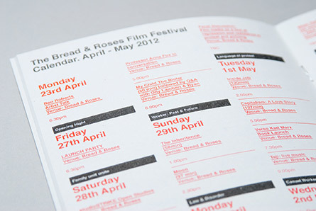 Calendar listing printed using risograph for the Bread and Roses Festival at the Ritzy London